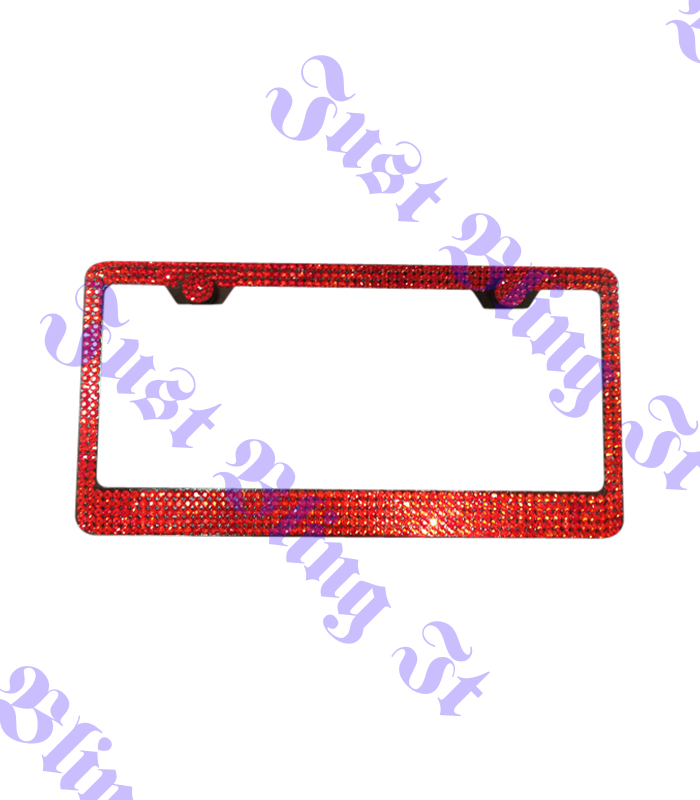 Crystal Bling License Plate Frame 5 Row Red | Just Bling It LV