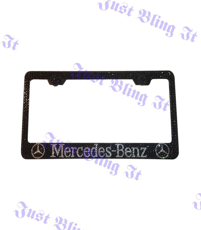 Mercedes benz license plate frame black just bling it lv for Mercedes benz license plate frame rhinestones