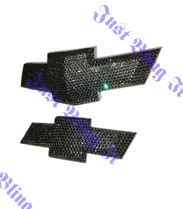 Chevrolet Camaro Bowtie Front And Rear Bling Emblem With Swarovski Crystals Black Diamond