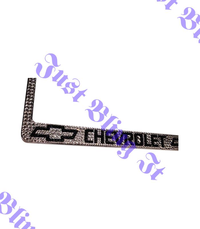 Chevrolet Chevy Stainless Steel license plate frame W Swarovski Crystals